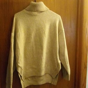H&M tan high low sweater